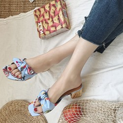 Shoespie Bow Chunky Heel Sandals