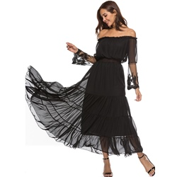 Shoespie Plain Off-The-Shoulder Women's Maxi Dress