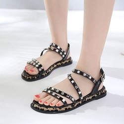 Black Rivet Leopard Strappy Buckle Slipper