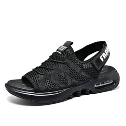Black Lace-Up Velcro Open Toe Men's Sandals