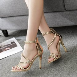Golden Chain Sexy Zipper Open Toe Stiletto Heels