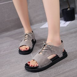 Platform Lace-Up Open Toe Flat Sandals