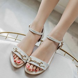 Shoespie Sequin Buckle Open Toe Flat Sandals