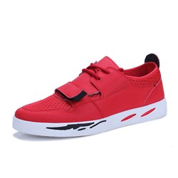 Concise Round Toe Lace-Up Velcro Men's Sneakers