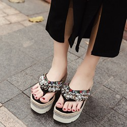 Rhinestone Platform Thong Wedge Sandals