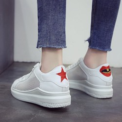 Hollow Round Toe Lace-Up Women's Sneaker