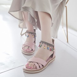 Fringe Zipper Open Toe Cute Sandals