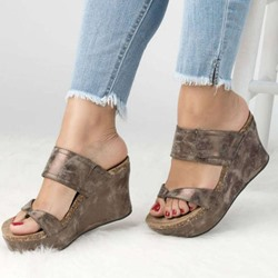 Brown Suede Thong Wedge Sandals