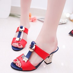 Color Block Rivet Chunky Heel Mules Shoes