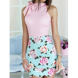 Shoespie Sleeveless Floral Pullover Women's Bodycon Dress