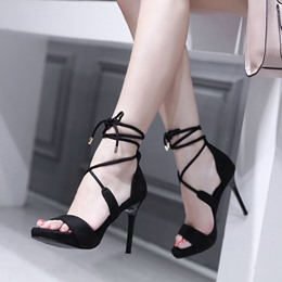 Open Toe Lace-Up Stiletto Heels