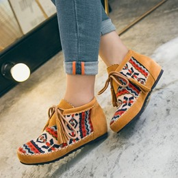 Hidden Elevator Heel Lace-Up Ankle Boots