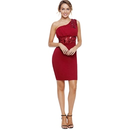 Shoespie One-Shoulder Patchwork Women's Bodycon Dress
