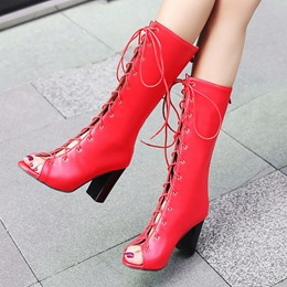 Peep Toe Lace Up Chunky Heel Fashion Boots