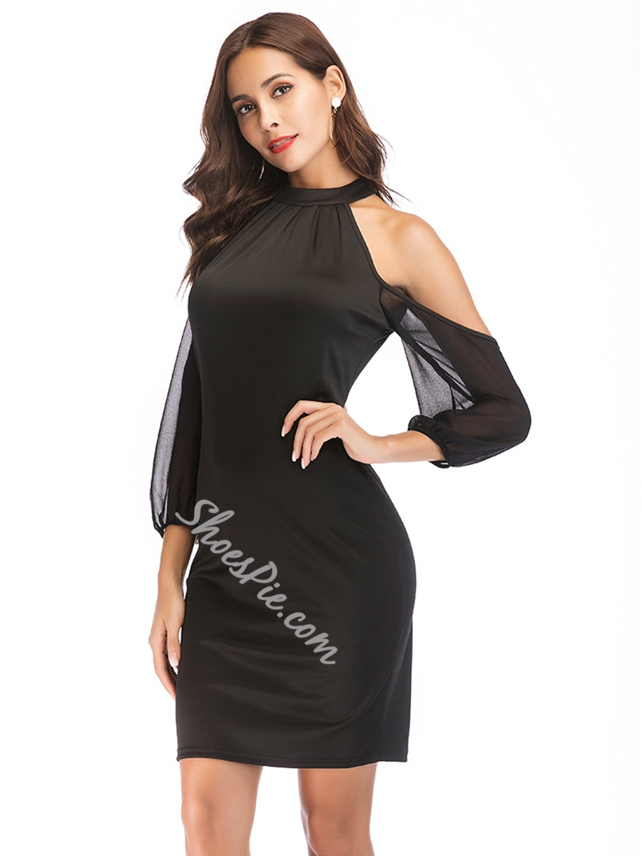 Shoespie Pullover Stand Collar Women's Bodycon Dress
