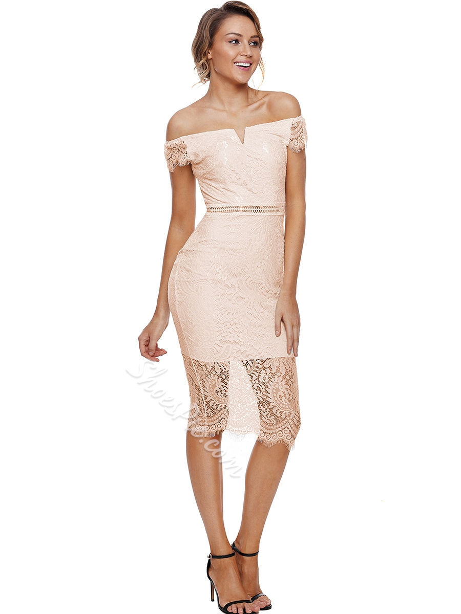 Shoespie Hollow Lace Slash Neck Women's Bodycon Dress