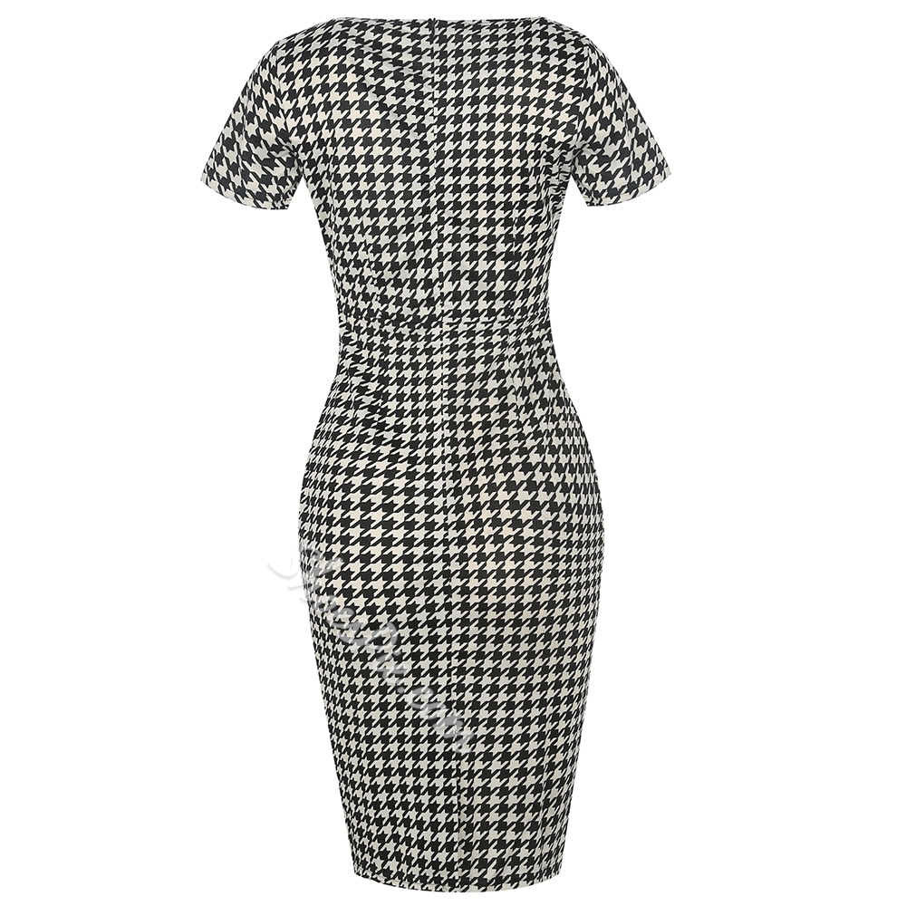 Shoespie Plaid Polka Dots Floral Women's Bodycon Dress