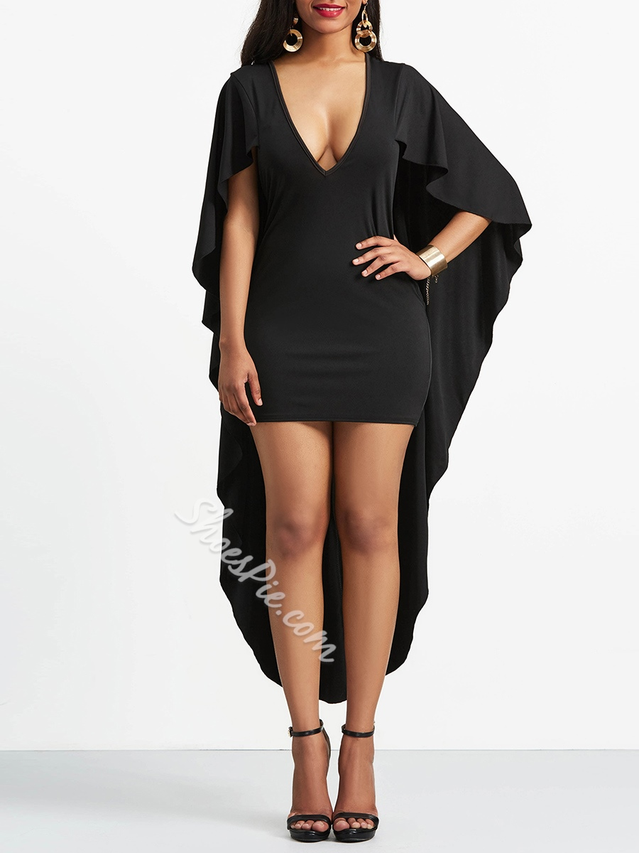 Asymmetric Plain V Neck Women's Bodycon Dress
