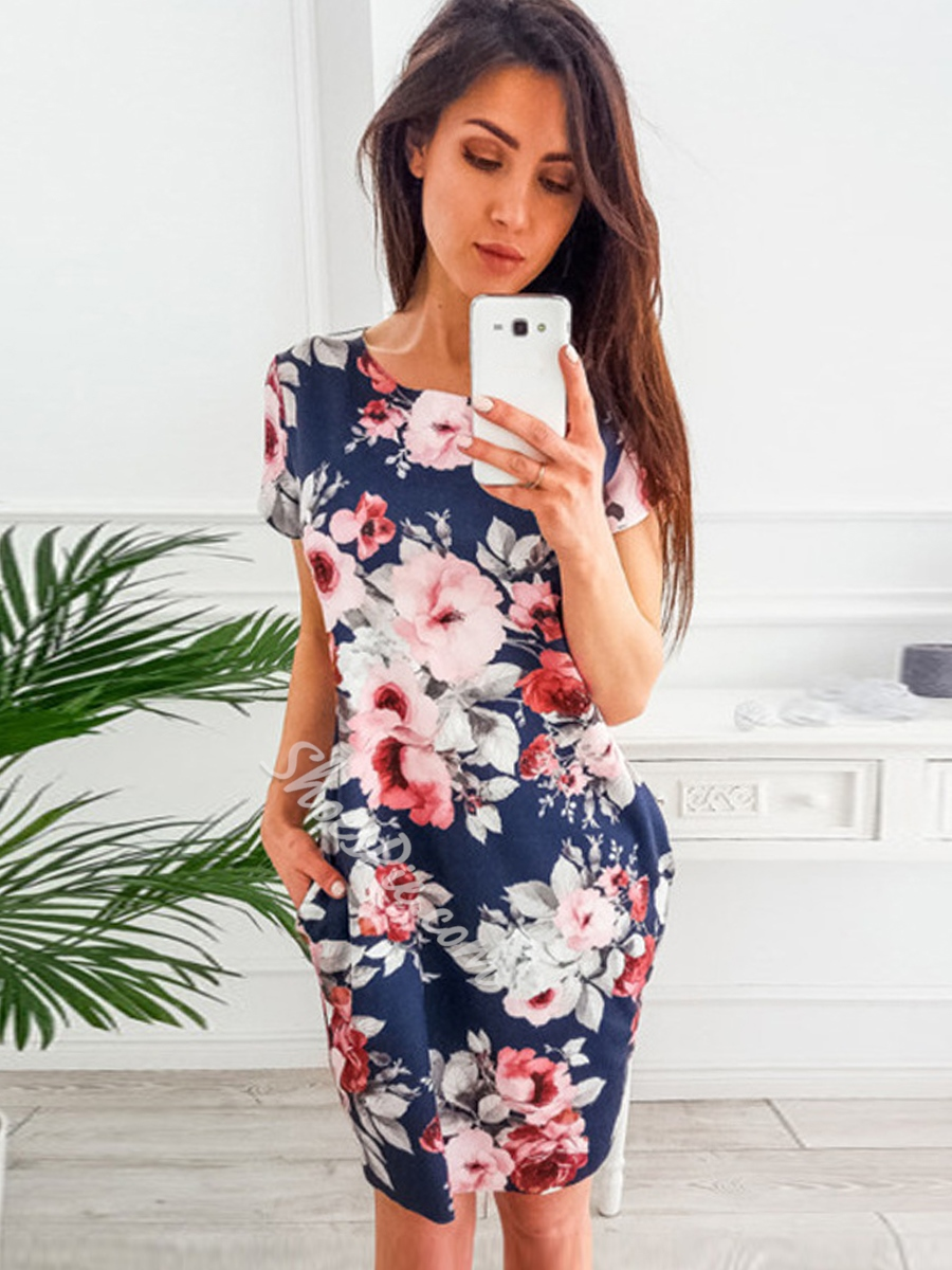 Shoespie Stripe Floral Print Women's Bodycon Dress