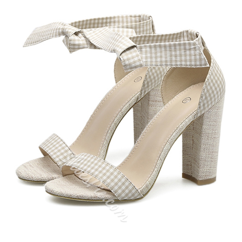 Light Apricot Gingham Bow Chunky Heel Lace-Up Sandals