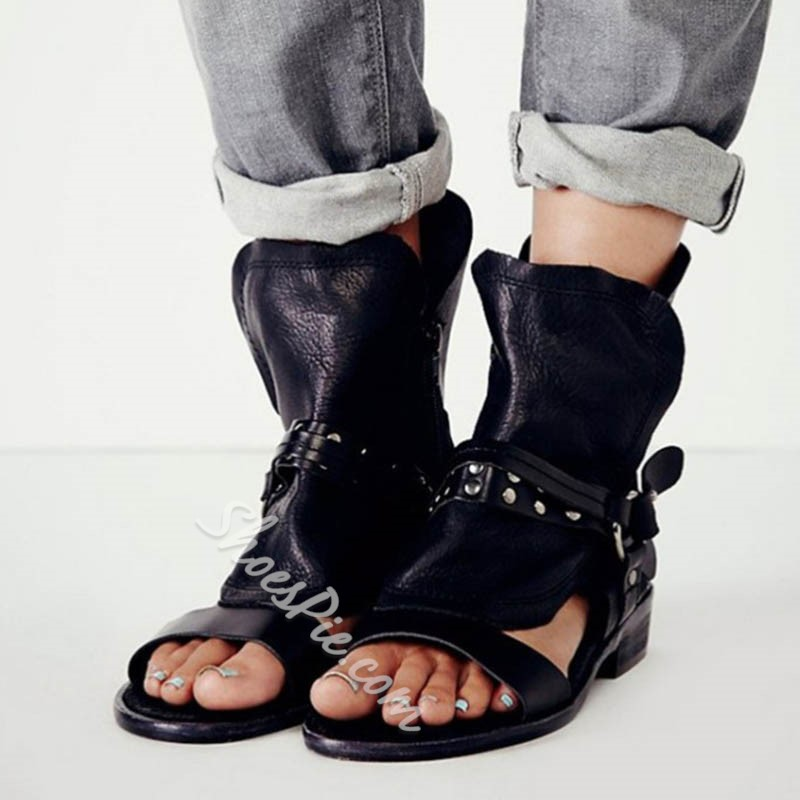 Rivet Buckle Zipper Ankle Strap Slipper