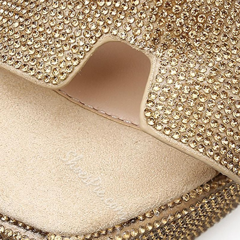Rhinestone Slip-On Wedge Sandals