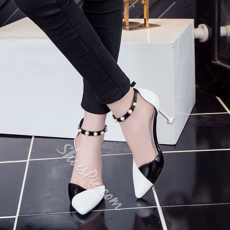 Black & White Beads Pointed Toe Spool Heel Sandals