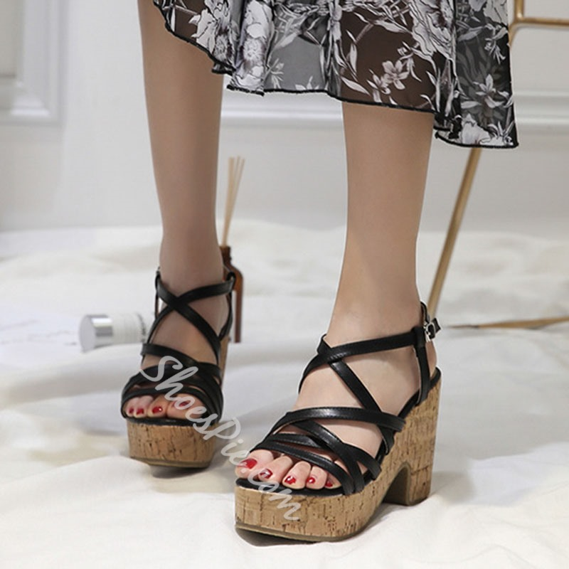 Shoespie Buckle Strappy Wedge Sandals