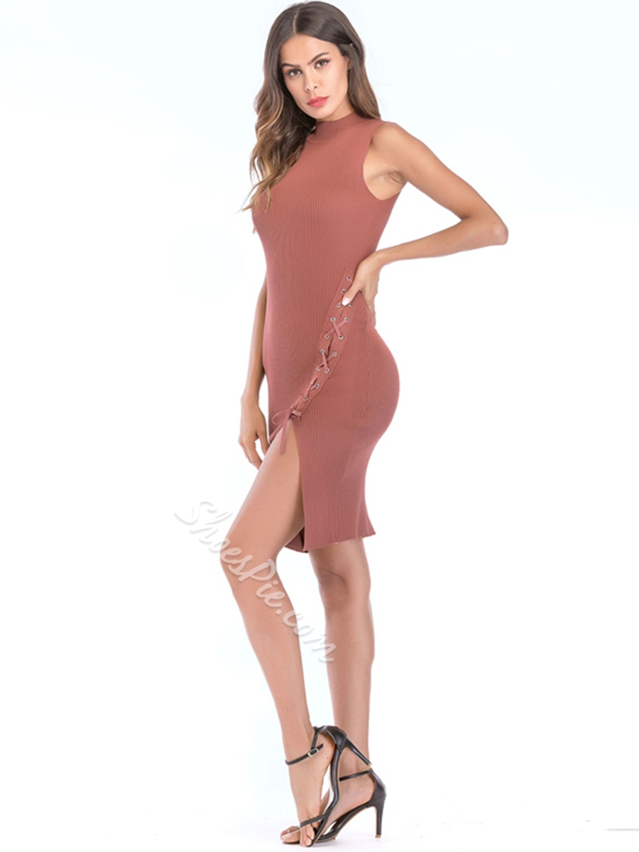 Shoespie Lace-Up Pullover Women's Bodycon Dress
