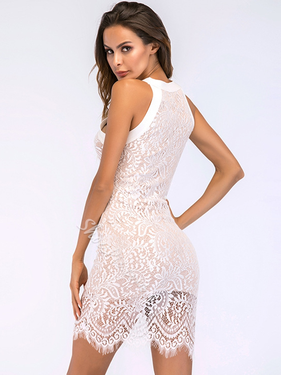 Shoespie Above Knee Hollow Lace Women's Bodycon Dress