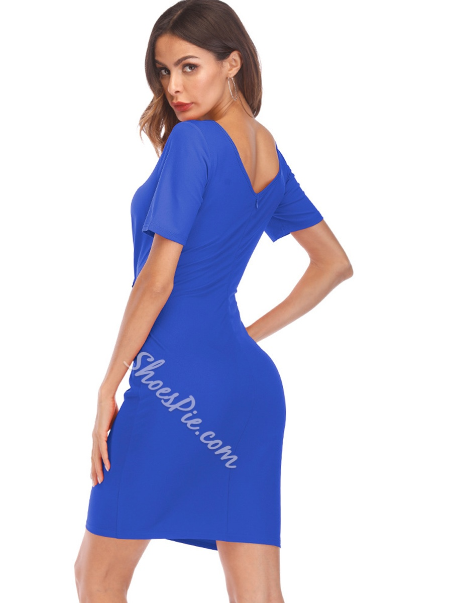 Shoespie Hollow V Neck Pullover Women's Bodycon Dress