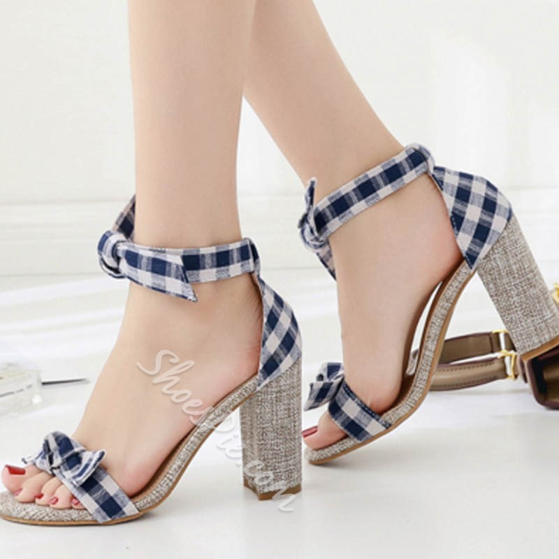 Cute Bow Gingham Chunky Heel Lace-Up Sandals
