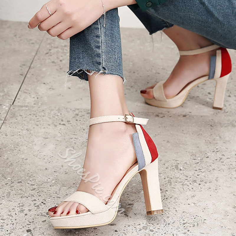 Color Block Platform Buckle Chunky Heels
