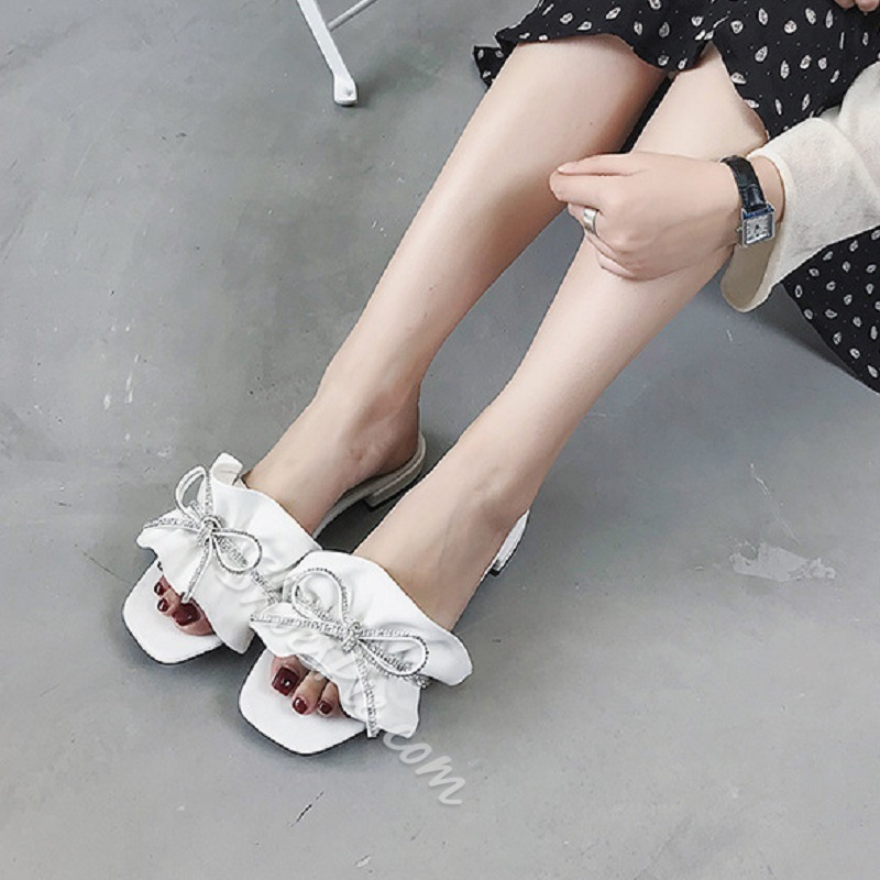 Shoespie Bow Rhinestone Slide Sandals