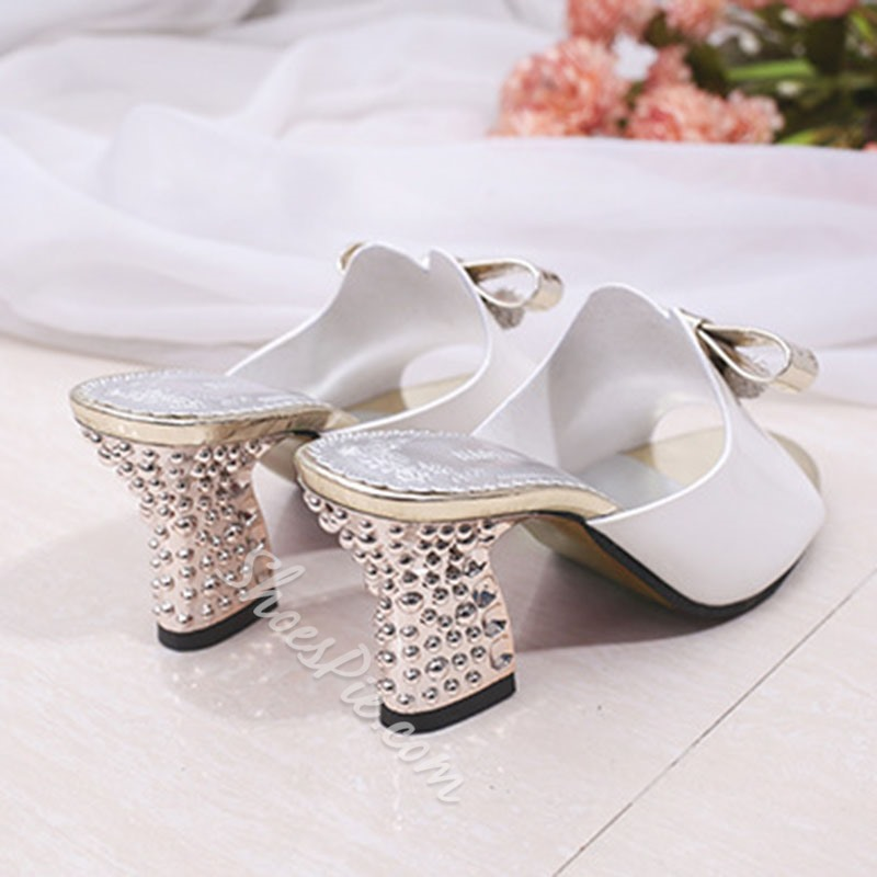 Rhinestone Bow Chunky Heel Mules Shoes