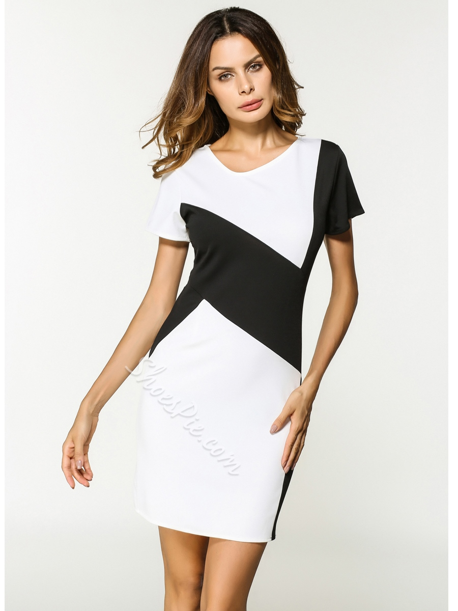 Shoespie Patchwork Zebra-Stripe Women's Bodycon Dress