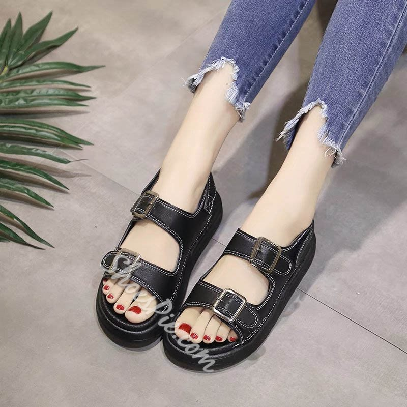 Double Buckle Velcro Open Toe Flat Sandals