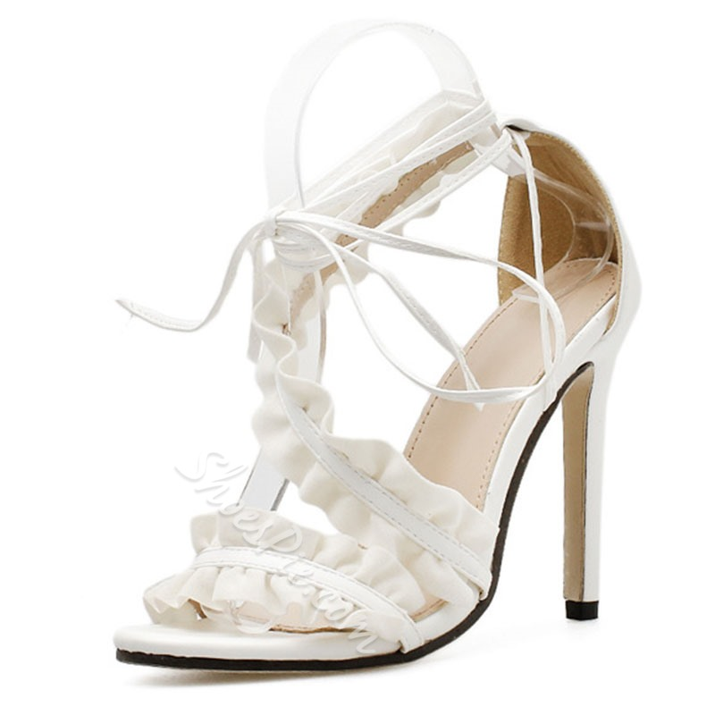 White Lace Up Heel Covering Stiletto Heels