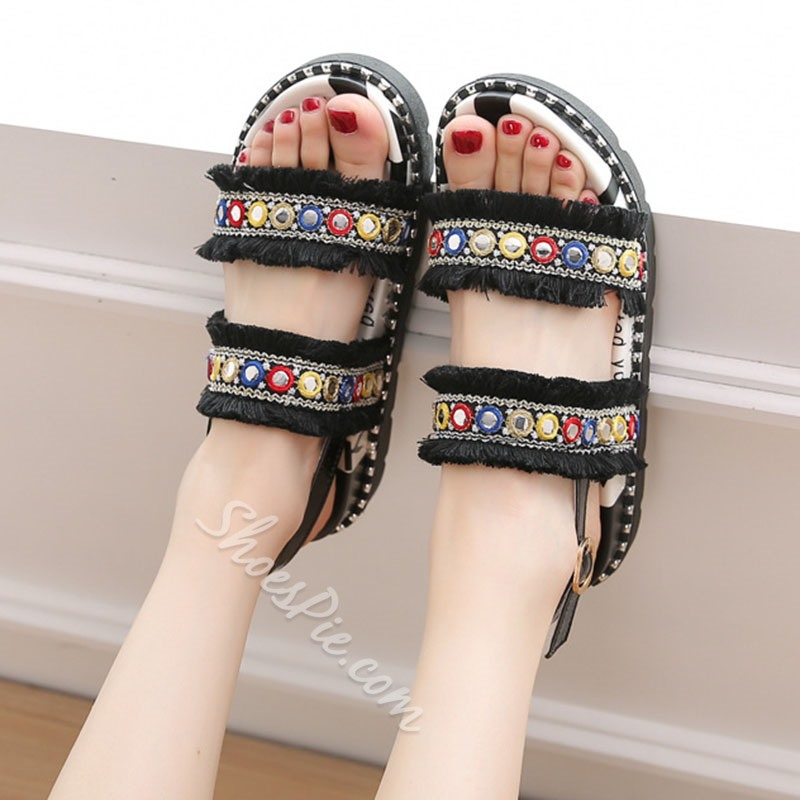 Embroidery Fringe Buckle Platform Slipper
