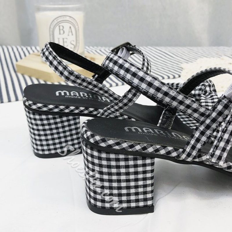 Gingham Bow Chunky Heel Dress Sandals