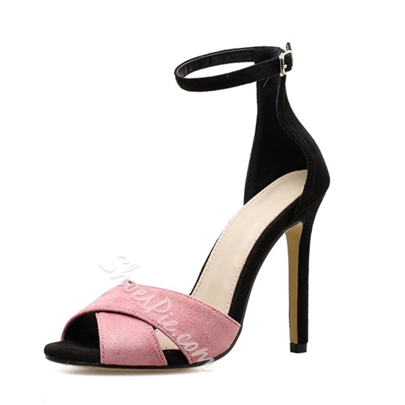 Pink & Black Line-Style Buckle Peep Toe Women's Sandals