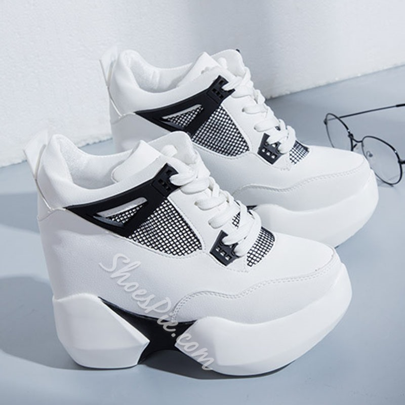 Hidden Elevator Heel Lace-Up Platform Sneaker