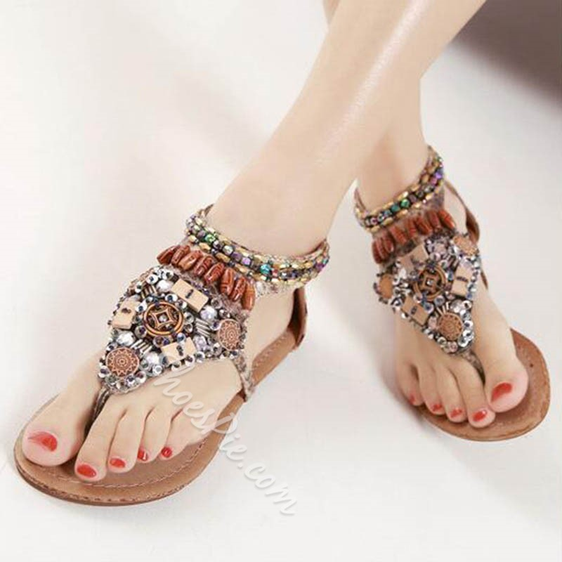 Bohemian Beads Thong Zipper Slide Sandals