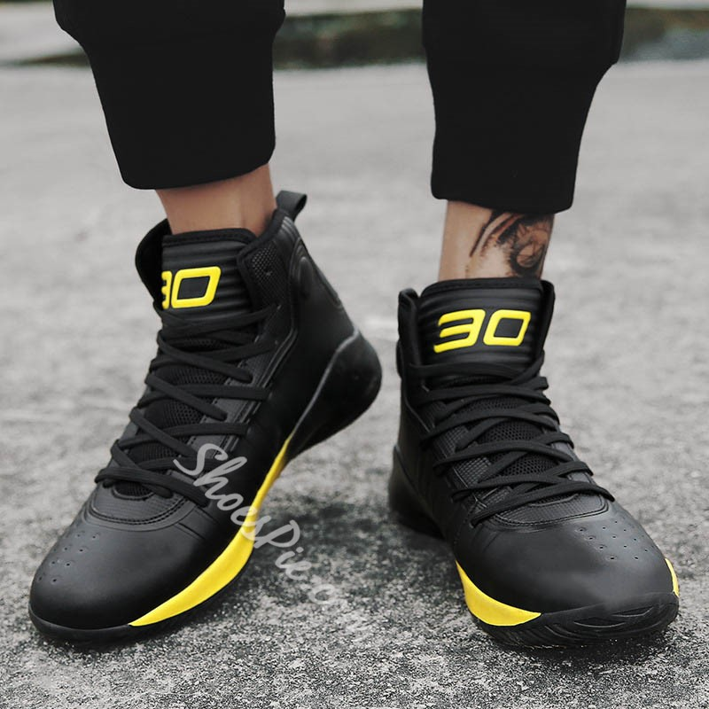 Shoespie Color Block Lace-Up High Upper Athletic Shoes