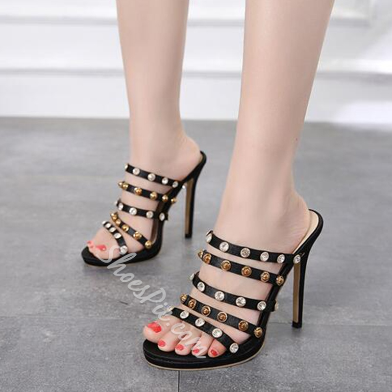 Black Rhinestone & Rivet Stiletto Heel Mules Shoes