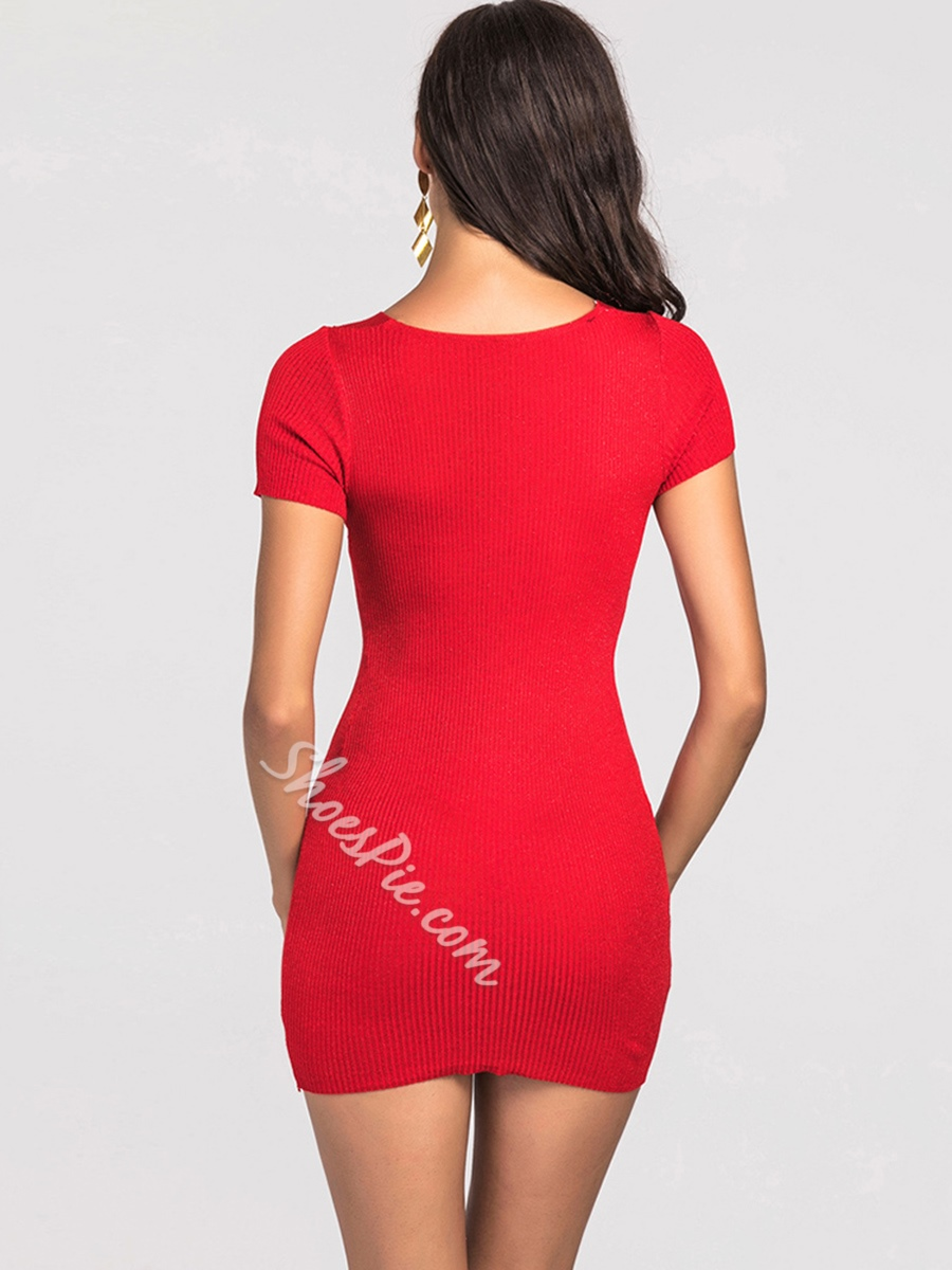 Shoespie Pullover Plain V Neck Women's Bodycon Dress