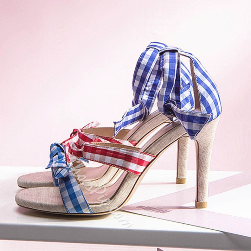 Colourful Bow Lace-Up Open Toe Stiletto Heels