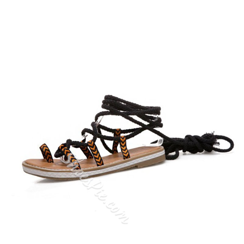 Lace-Up Ankle Strap Toe Ring Flat Sandals