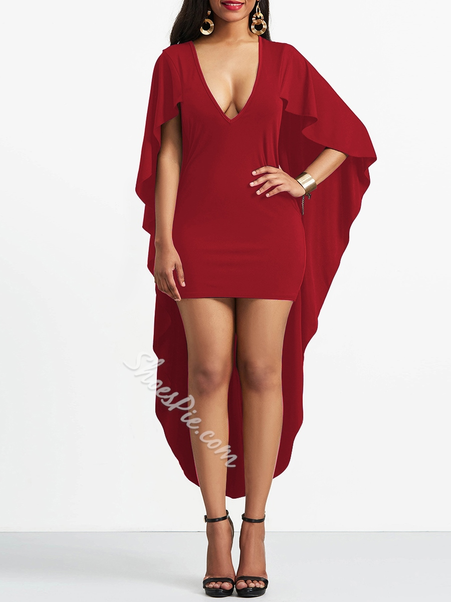 Shoespie Plain V-Neck Pullover Women's Bodycon Dress