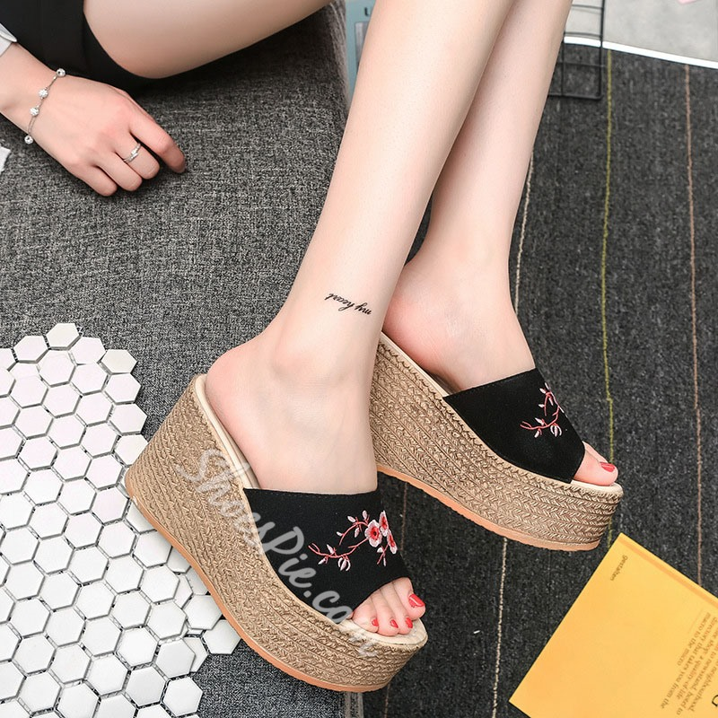 Embroidery Slip-On Wedge Sandals